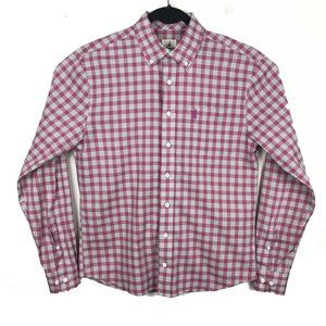 Johnnie-O Hangin Out Pink Gray Plaid Button Shirt
